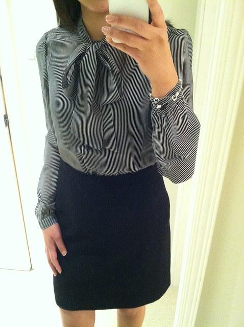 American Apparel stripe chiffon secretary blouse, sz XS