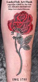 Long Stem Rose Tattoo Design Luckyfish Art
