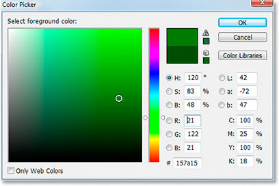Adobe Photoshop Text Effects: Selecting a slightly lighter shade of green for the text in Photoshop's Color Picker.