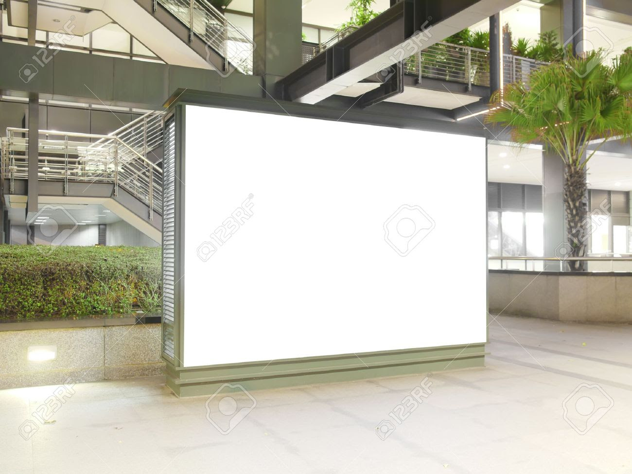 Blank Billboard In Modern Building Stock Photo, Picture And ...