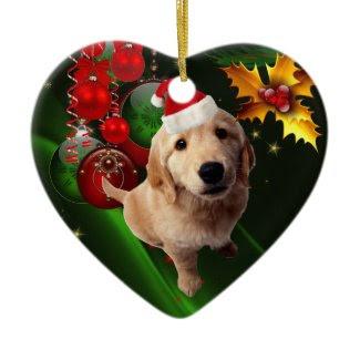 Ornament Christmas Dog With Santa Hat