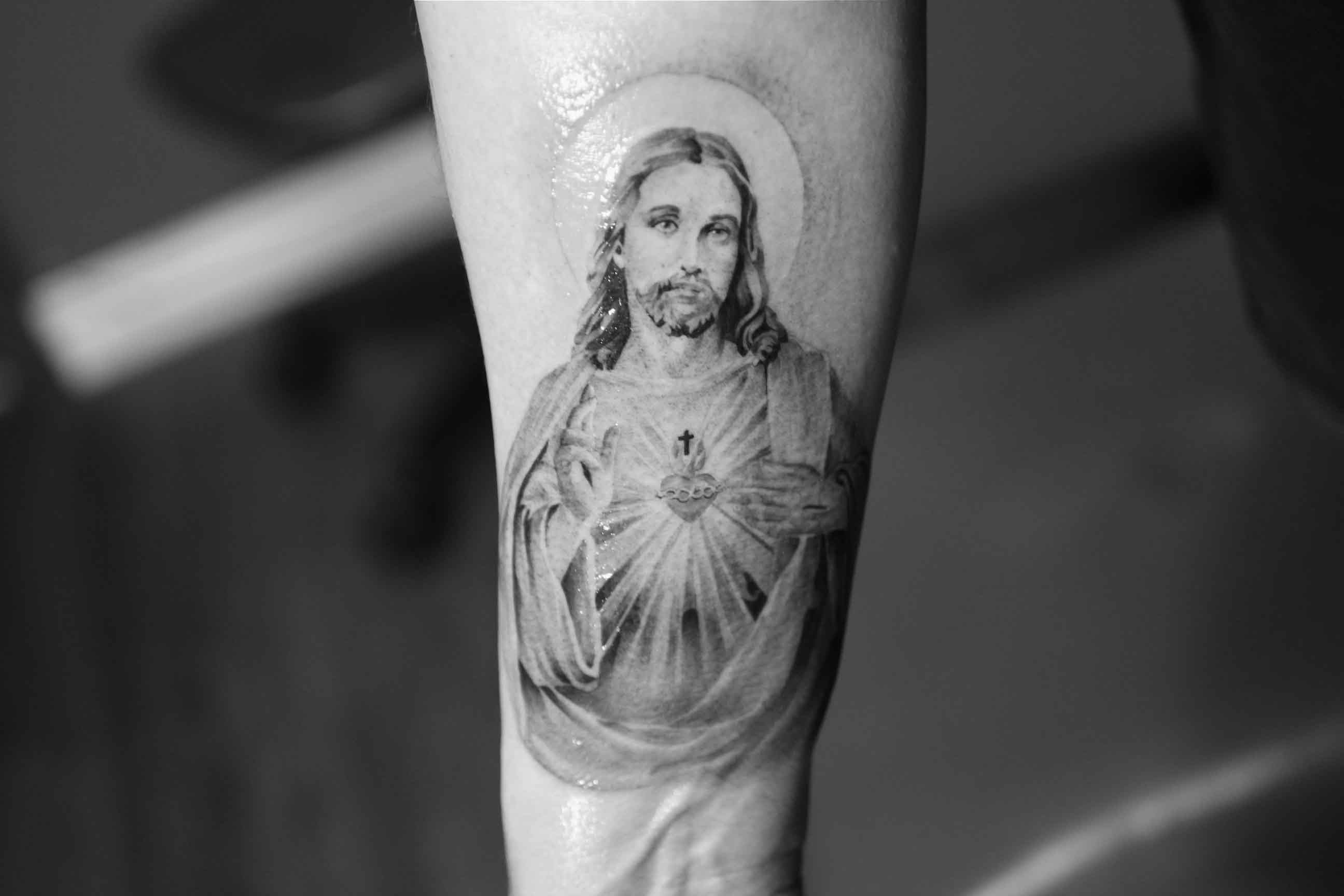 Jesus Tattoo On Forearm