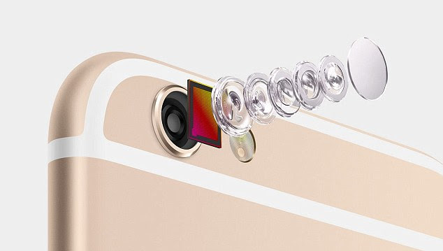 The 8MP camera has true-tone flash. The camera iSight sensor will focus pixels, and it has autofocus that's twice as fast as the last generation. The front-facing camera has also been updated for selfies