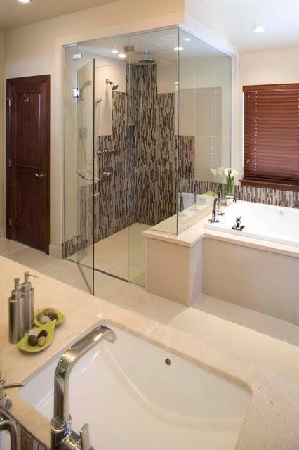 Modern Shower/Bath Combination with Threshold ProLine Installation ...