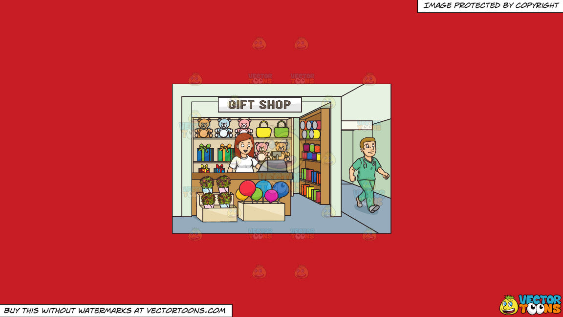 Clipart A Female Volunteer In A Hospital Gift Shop For Charity On A S Clipart Cartoons By Vectortoons