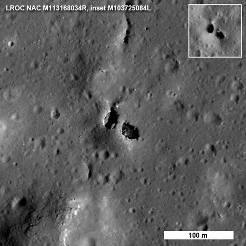 An LRO image of a 'natural bridge' on the surface of the Moon.