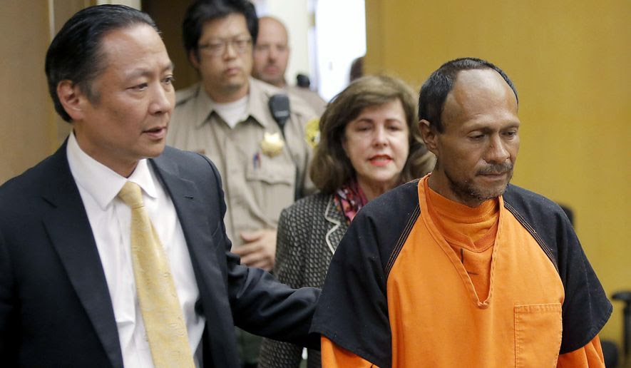 "Juan Francisco Lopez-Sanchez, right, is led into the courtroom by San Francisco Public Defender Jeff Adachi, left, and Assistant District Attorney Diana Garciaor, center, for his arraignment at the Hall of Justice in San Francisco in this July 7, 2015, file photo. The parents of Kathryn Steinle filed a wrongful death claim Tuesday, Sept. 1, 2015, alleging that the San Francisco Sheriff's Department is to blame for releasing an illegal immigrant from jail despite a federal ""detainer"" request to keep in custody for possible deportation proceedings. A claim is usually a precursor to a lawsuit. (Michael Macor/San Francisco Chronicle via AP, Pool, File)"