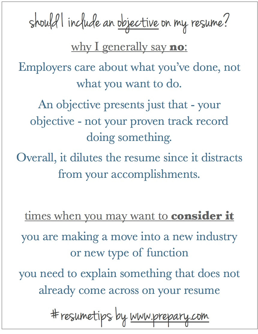 Should I include an objective on my resume? Is an objective necessary? : The Prepary