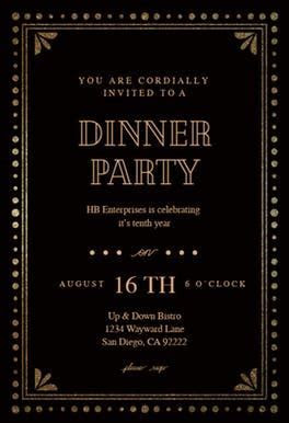 Fancy night   Free Dinner Party Invitation Template