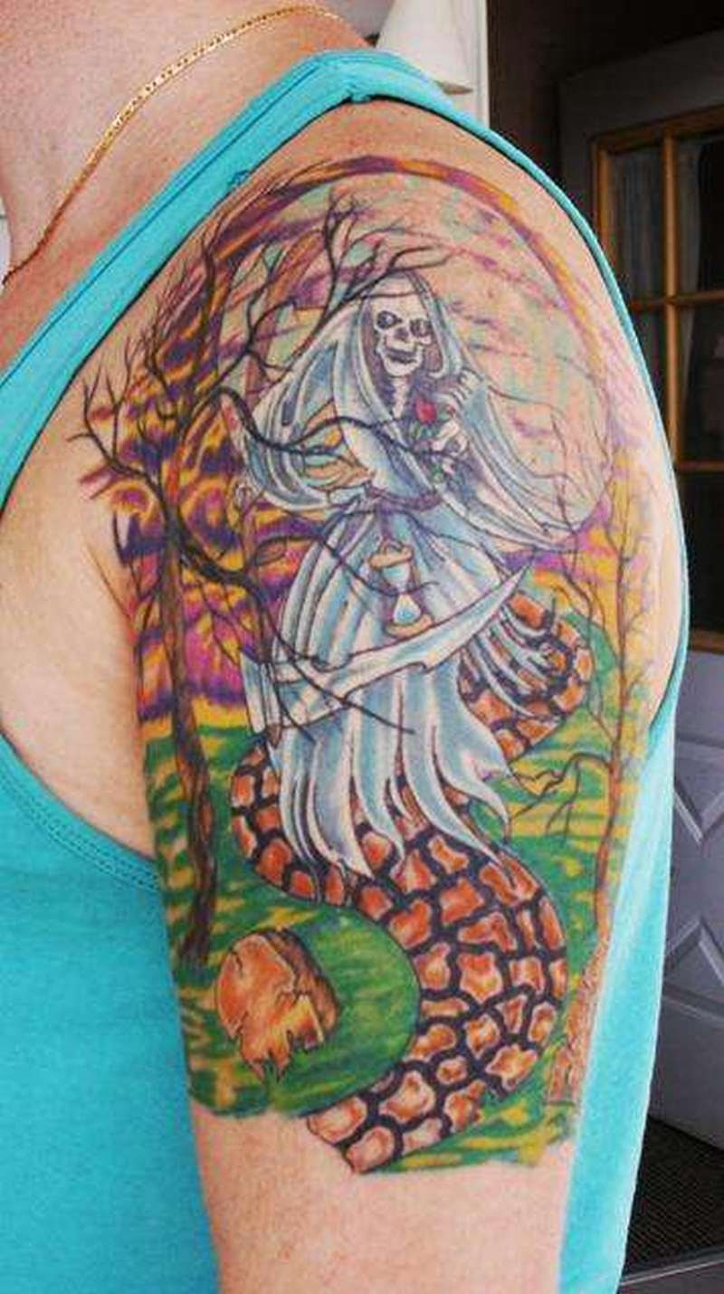 Grim Reaper At Graveyard Tattoo On Shoulder Tattoos Book 65000
