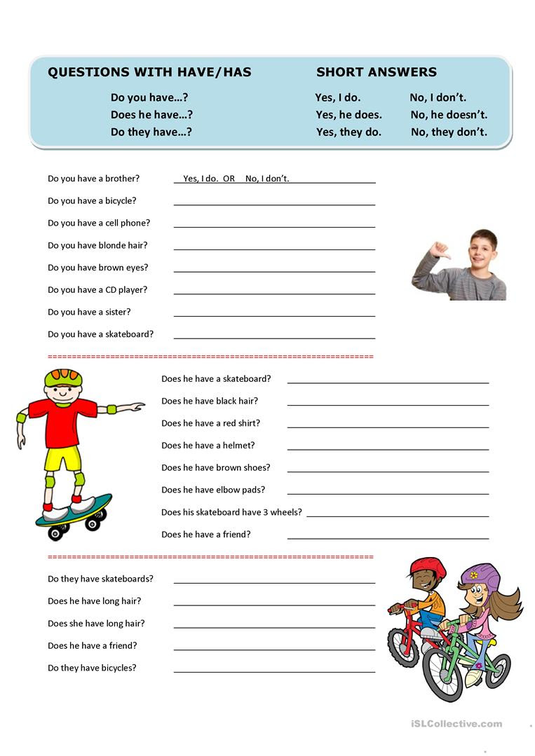 Questions with Have/Has and Short Answers worksheet - Free ...