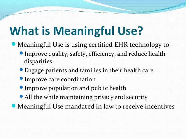 Use Of Ehr In Healthcare