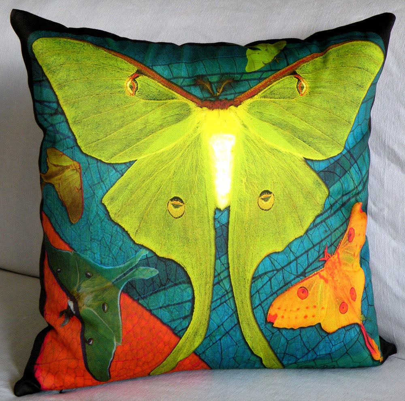 Designer Pillow Cover - LUNA MOTHS 2 Chartreuse - Fits 18x18 Insert Sold Separately - original design -  custom printed designer fabric
