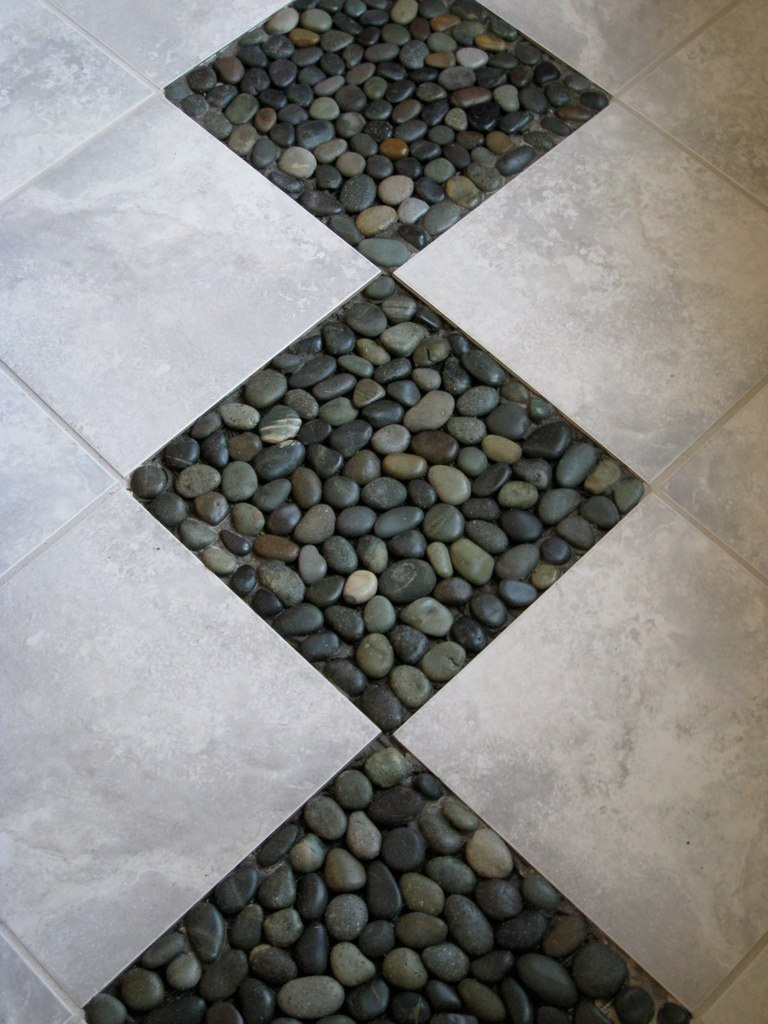 Natural River Rock Tile Sheets Floor With White Ceramic