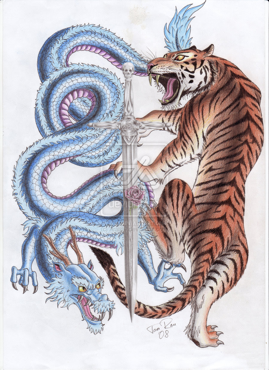 Dragon And Tiger Fighting Interface Tattoo Tattoomagz