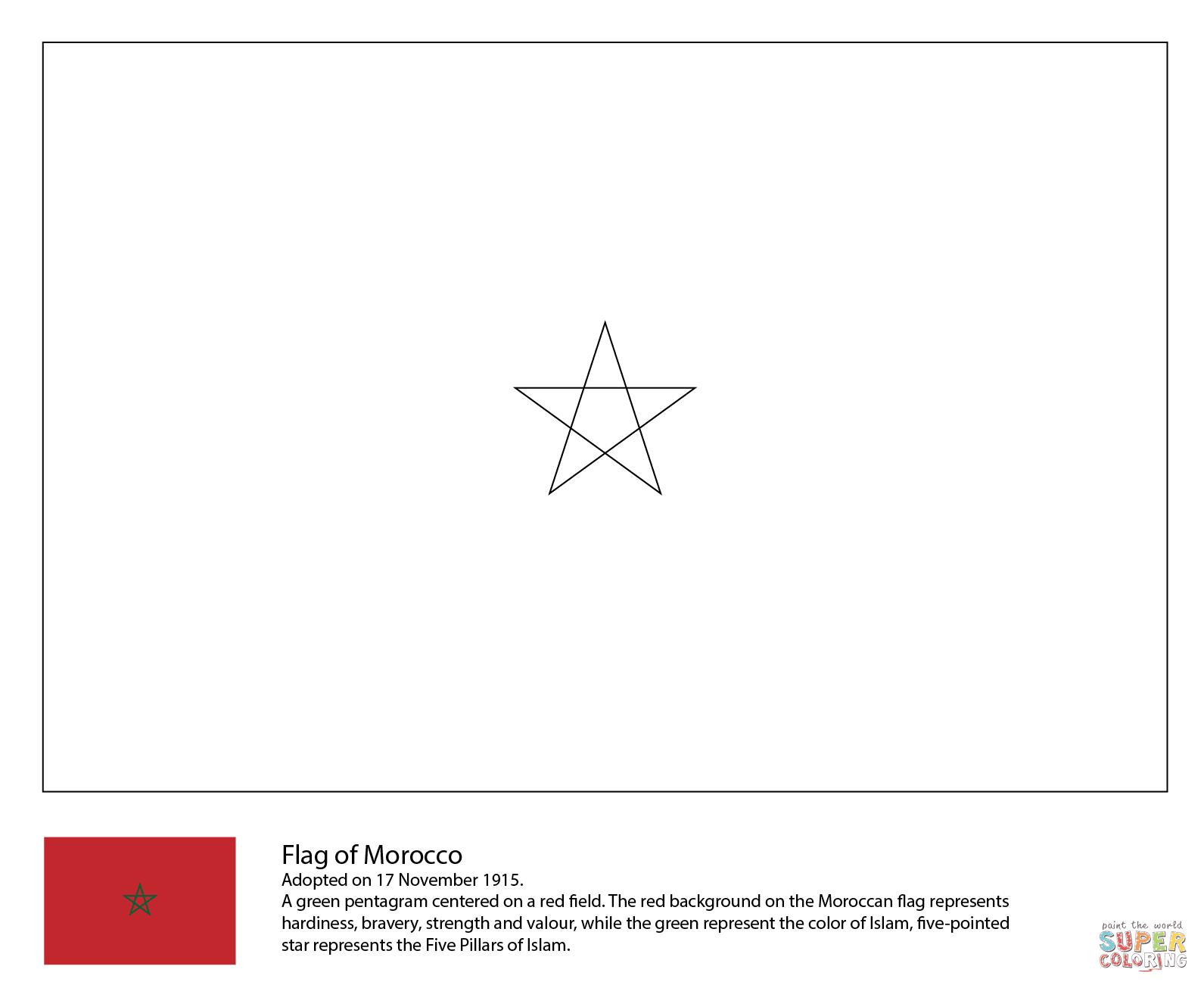 Ausmalbild: Flagge von Marokko | Ausmalbilder kostenlos ...