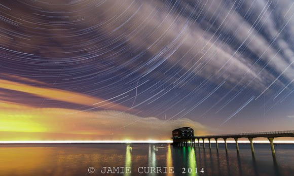 Star trails and the Perseid meteors over the Bembridge LifeBoat Station on the Isle of Wight. Credit and copyright: Jamie Currie.