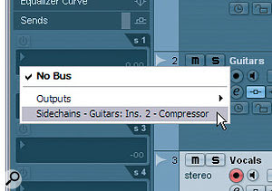 Once the Guitars track's compressor plug‑in's side‑chain is activated, you can access it from the Sends pane on the Vocals track's Inspector (top screen, right). After switching the send on and fading it up, it's worth clicking the Pre‑fader switch (bottom screen, right) to avoid problems with the ducking should you alter vocal fader levels later.