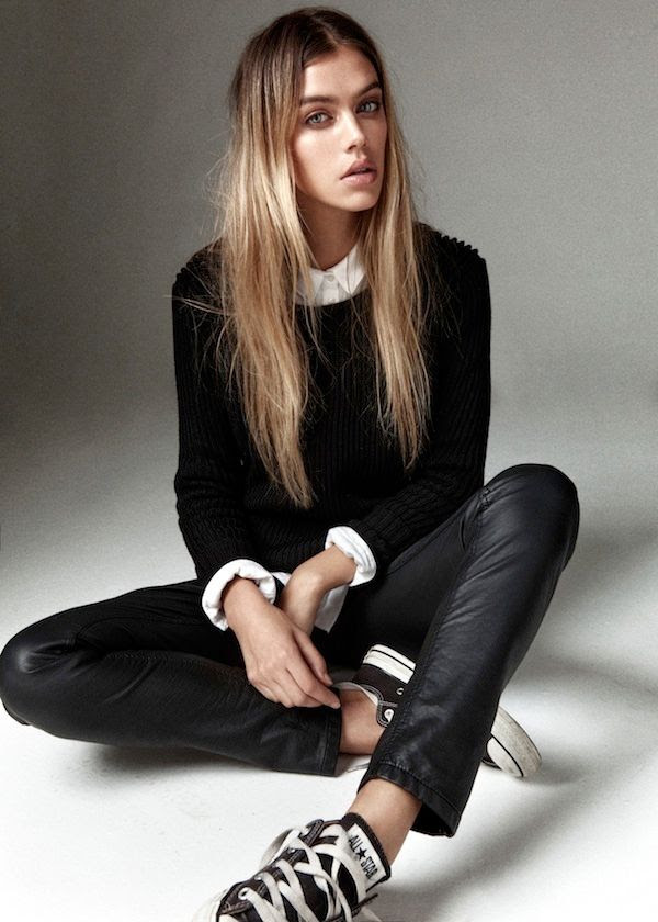 Le Fashion Blog -- Joanna Halpin with long ombre hair in a black sweater, white button-down shirt, leather pants & Converse sneakers -- Via Jess Chapman -- photo Le-Fashion-Blog-Joanna-Halpin-Black-Sweater-White-Button-Down-Long-Ombre-Hair-Leather-Pants-Converse-Sneakers-Via-Jess-Chapman.jpg