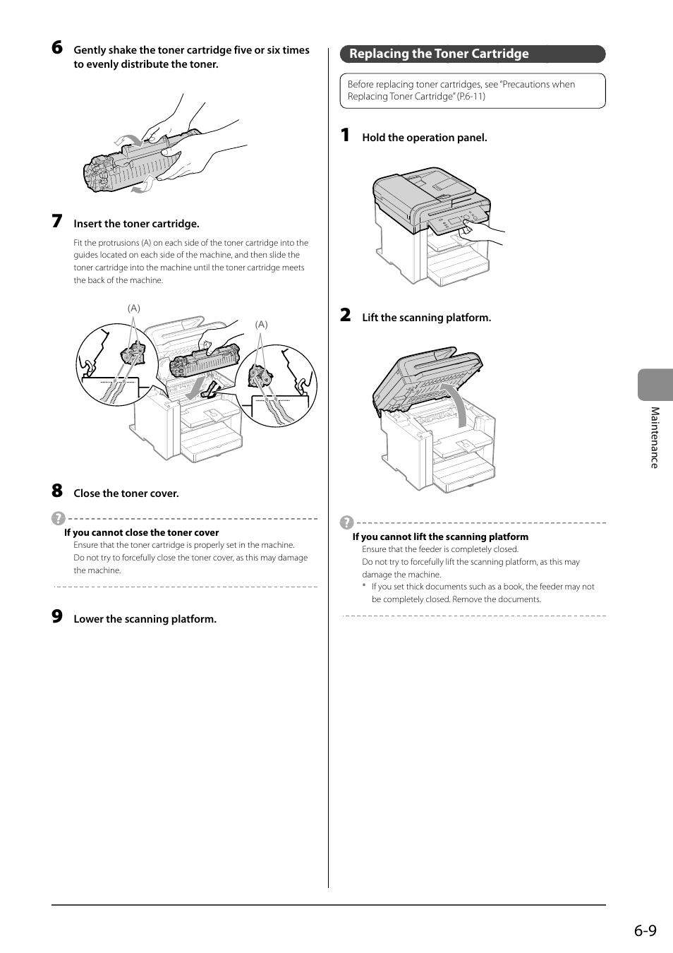 Replacing The Toner Cartridge Canon Imageclass D550 User Manual