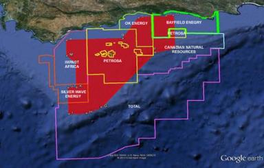 Os direitos de prospecção da companhia Diamond Fields International, em 47.468 quilômetros quadrados do Oceano Índico, estão ao lado de zonas de exploração e produção de petróleo. Foto: Diamond Fields International Ltd.