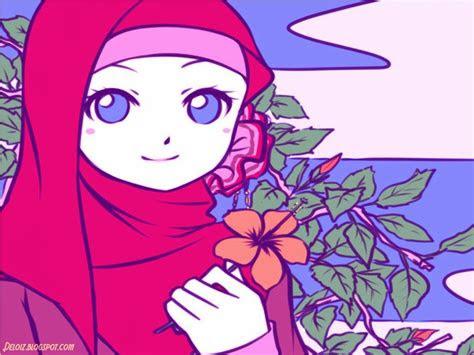 gambar kartun lucu wanita muslimah bergerak ktawacom