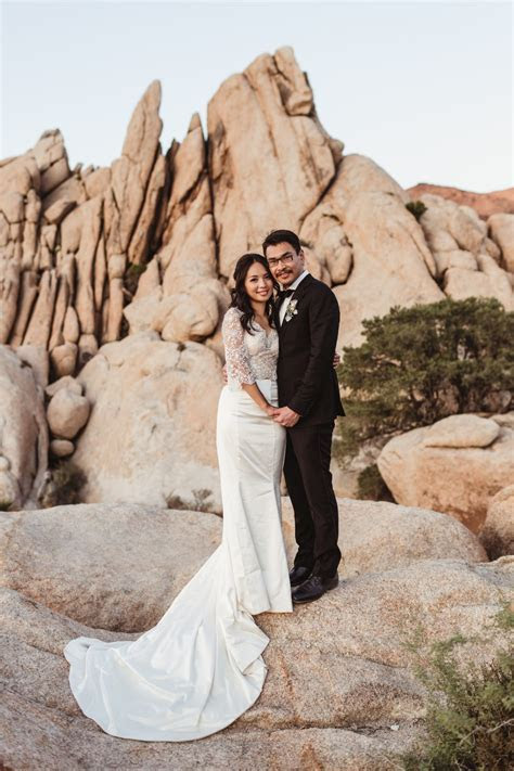 Erin and Wei's Intimate Joshua Tree Elopement at the Ruins
