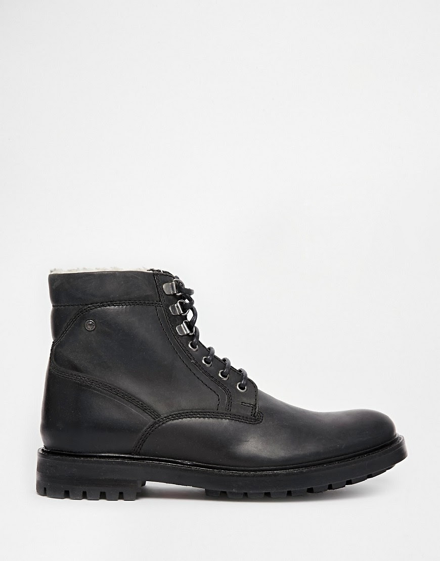 Image 2 of Base London Roebuck Leather Boots with Faux Shearling Lining