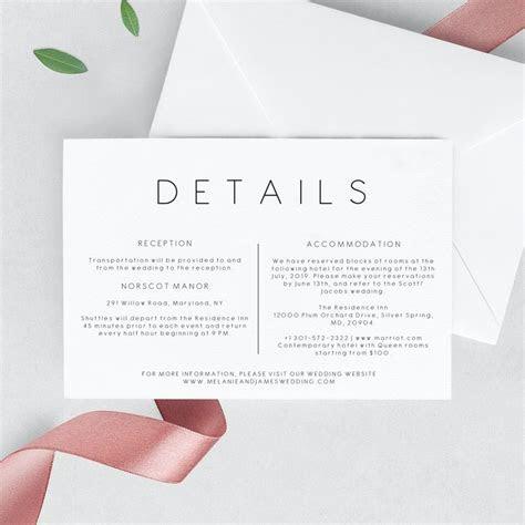 Wedding details invitation Template   Printable Wedding