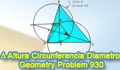 Problema de Geometría 930 (English ESL): Triangulo, Circunferencia, Diámetro, Altura, Angulo