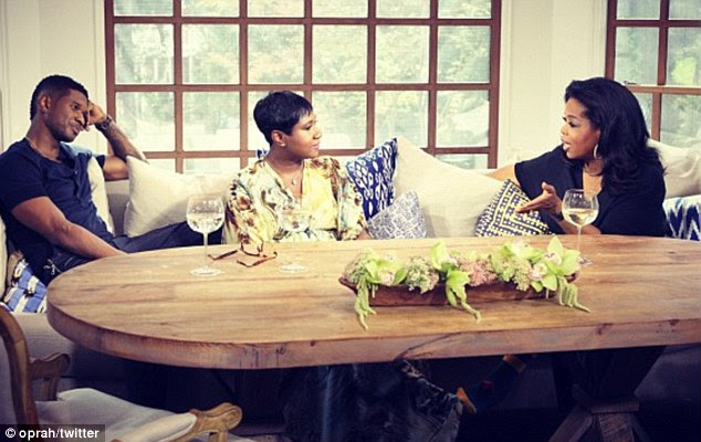 Speaking out: Usher opened up to Oprah Winfrey on The Next Chapter last night supported by his mother, Jonetta Patton