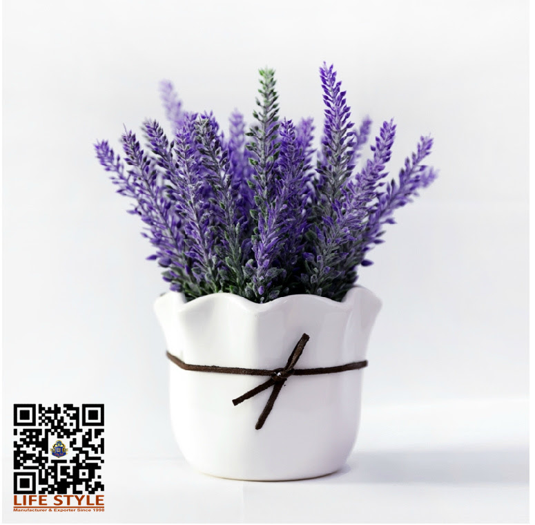 Artificial lavender flower in ceramic pot decoration silk flower bonsai setinDecorative Flowers