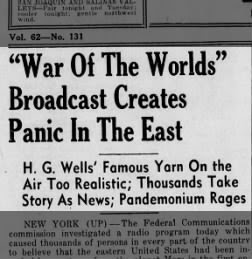 War of the Worlds' Broadcast Creates Panic in the East