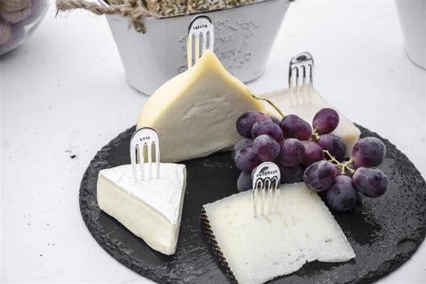 Marcadores de queso: camembert, manchego, cabra, azul, parmesano, brie y tetilla