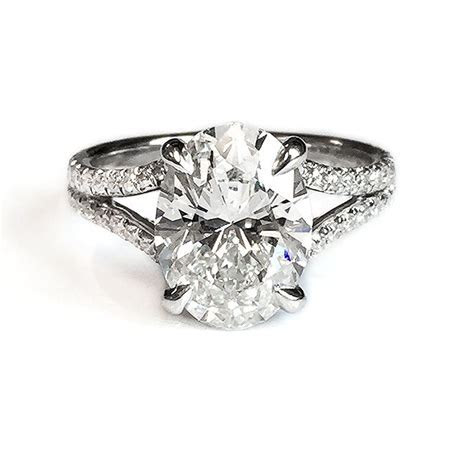 Fink's Platinum Oval Cut Diamond Split Shank Engagement