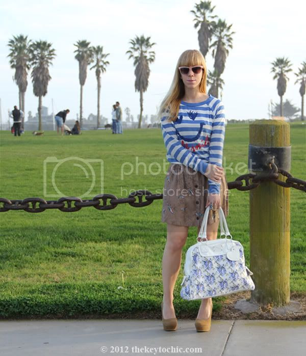 striped top, bird print skirt, flare heel platform pumps, print mixing trend, floral handbag, California personal style blog