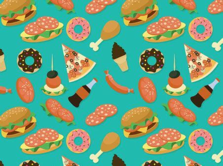 Fast food seamless vector background   Free Vector