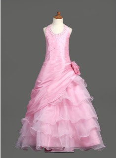 A-Line/Princess Scoop Neck Floor-Length Taffeta Organza Flower Girl Dress With Ruffle Beading Flower(s) Sequins