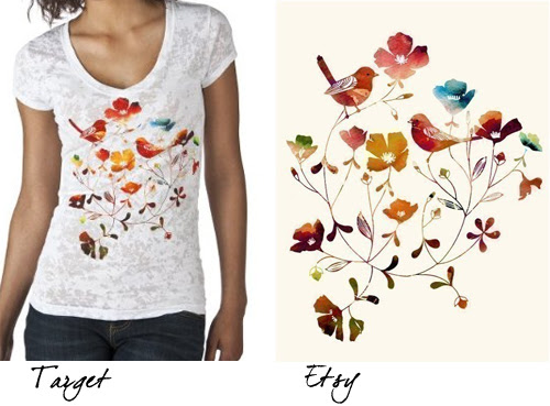 target t-shirt with yumi yumi art, floral burnout t-shirt