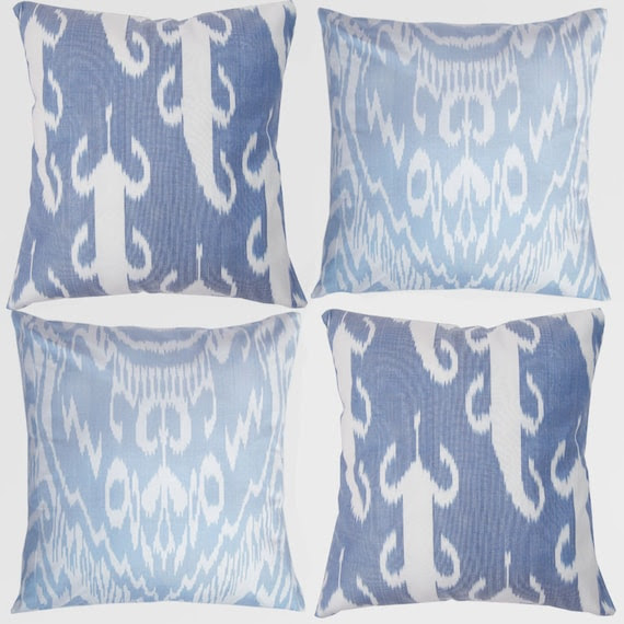Set of 4 Uzbek Ikat pillow covers, 18x18