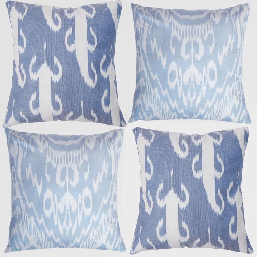 Set of 4 Uzbek Ikat pillow covers, 18x18