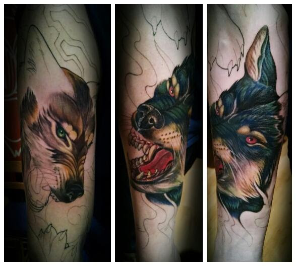2nd Session Of My Good Wolf Vs Bad Wolf Sleeve Done By Kimi Ledger