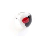 Cocktail Ring - Black White and Red - Adjustable - Fused Glass - GlitterbirdGlass
