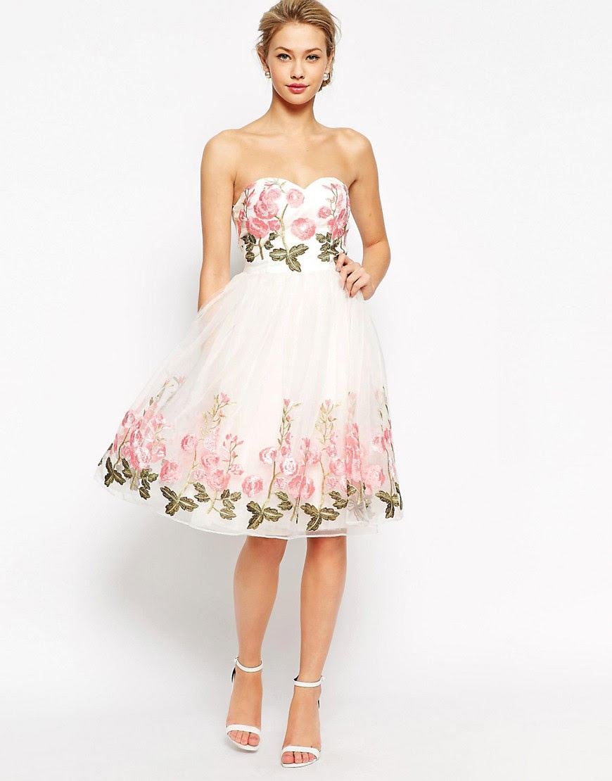Image 1 of Chi Chi London Bandeau Full Prom Dress With Floral Embroidery