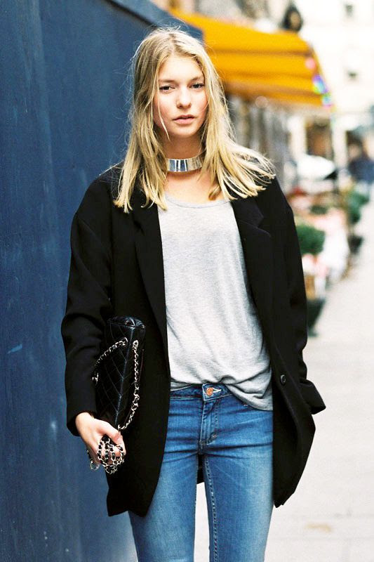 Le Fashion Blog Fall Winter Street Style Black Coat Blazer Grey Tee Skinny Jeans Chanel Chain Strap Bag Silver Choker Necklace Via Vanessa Jackman