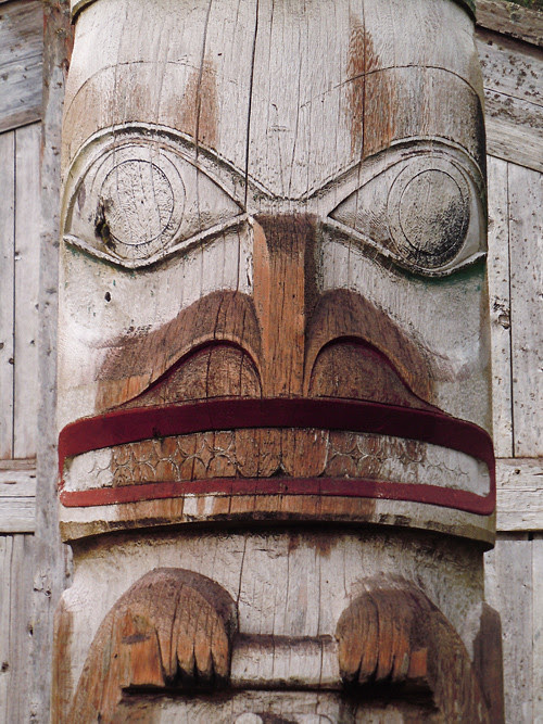 close up of semi dry totem pole, Kasaan, Alaska