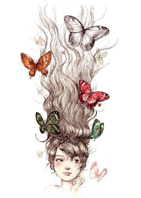 mariposas en el peloilustracion ilustraciones