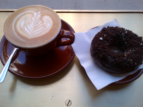 Cappuccino and Triple Chocolate Donut