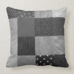 fun black and white patchwork vintage art designer pillow