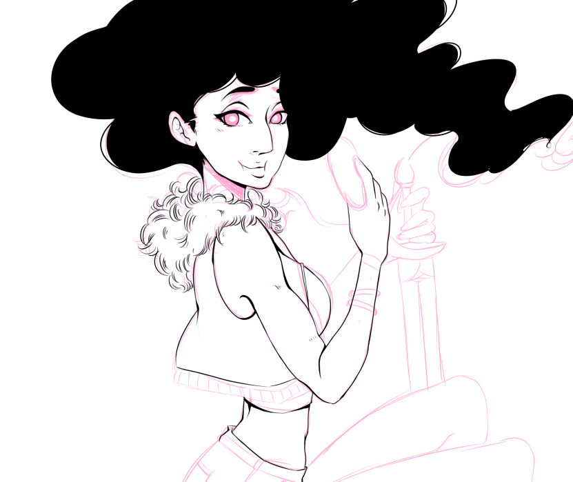 Today's project! Redoing this stevonnie piece for a THIRD time. I'm reworking as many prints as I can since my due date is around the corner (6 weeks!!) & I have cons coming up! Wish me luck!